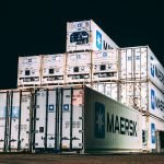Maersk containers at night
