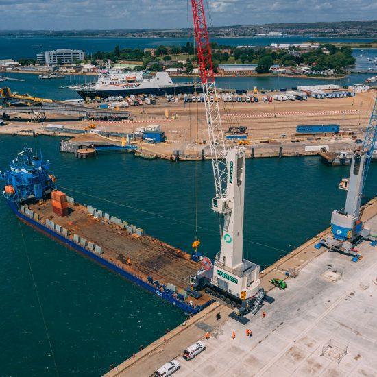 Crane being unloaded